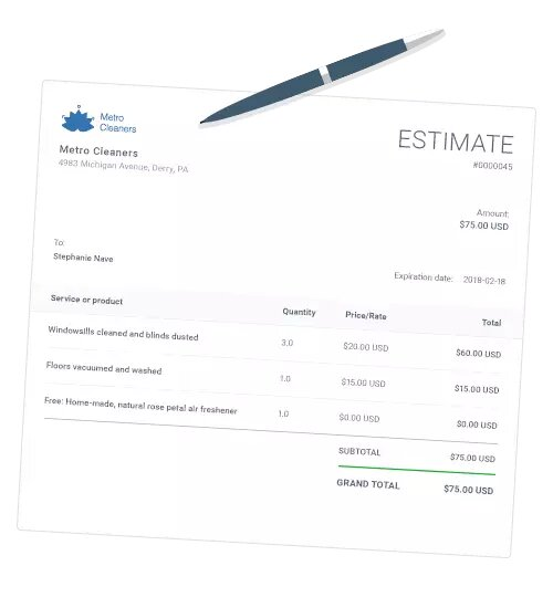 Estimates - Issue professional, branded estimates within minutes, scoring you more business from prospects and clients. Let clients approve your estimates online and get notified when they do.